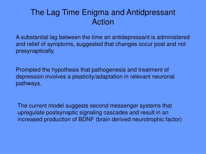 The Lag Time Enigma and Antidpressant