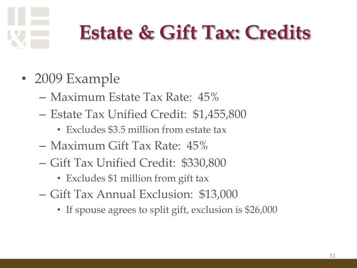 Estate & Gift Tax: Credits
