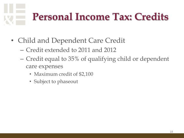 Personal Income Tax: Credits