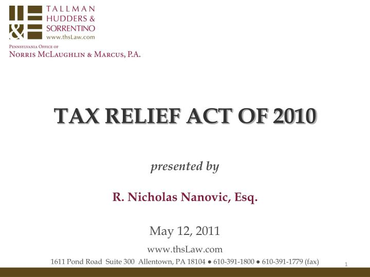 Tax relief act of 2010