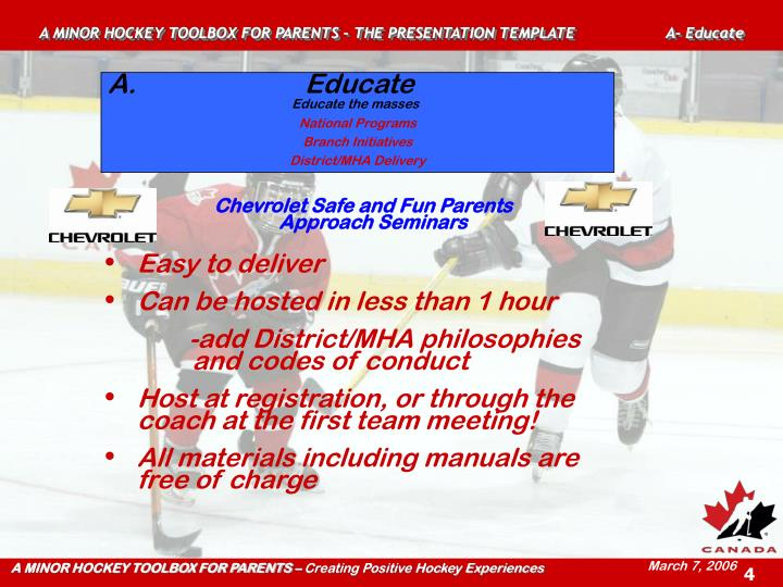 A MINOR HOCKEY TOOLBOX FOR PARENTS – THE PRESENTATION TEMPLATE A- Educate