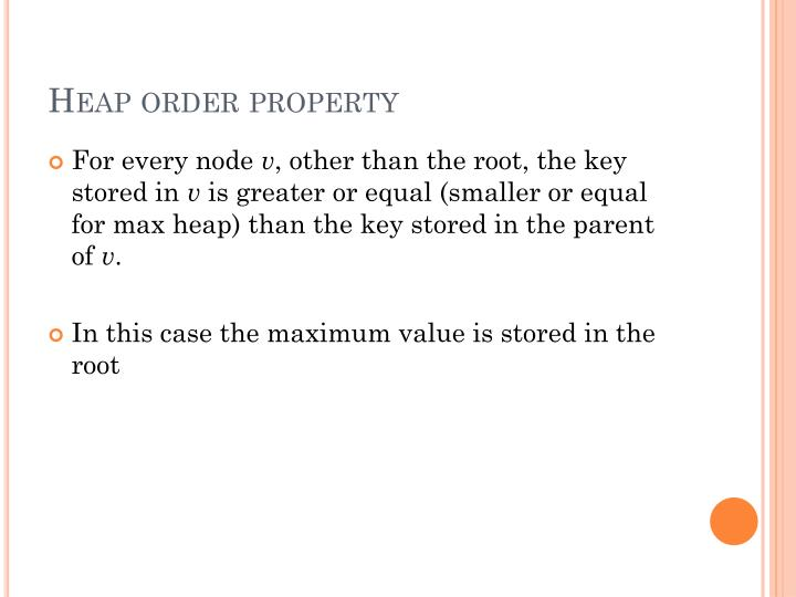 Heap order property