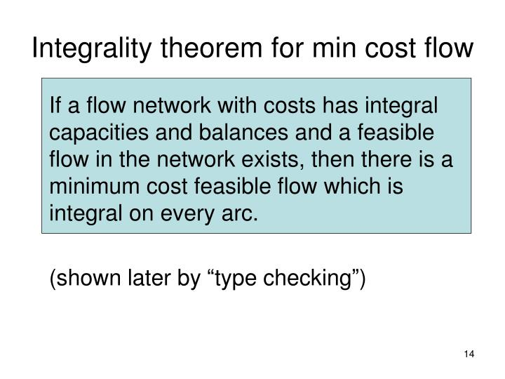 Integrality theorem for min cost flow