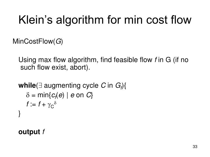 Klein's algorithm for min cost flow
