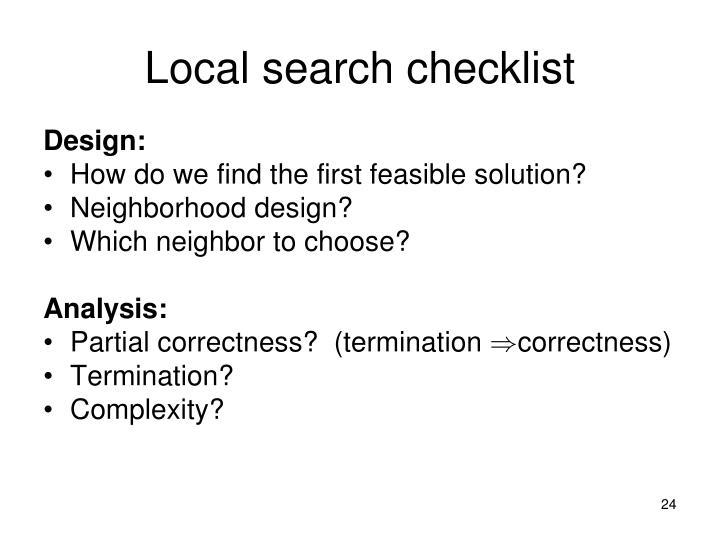 Local search checklist