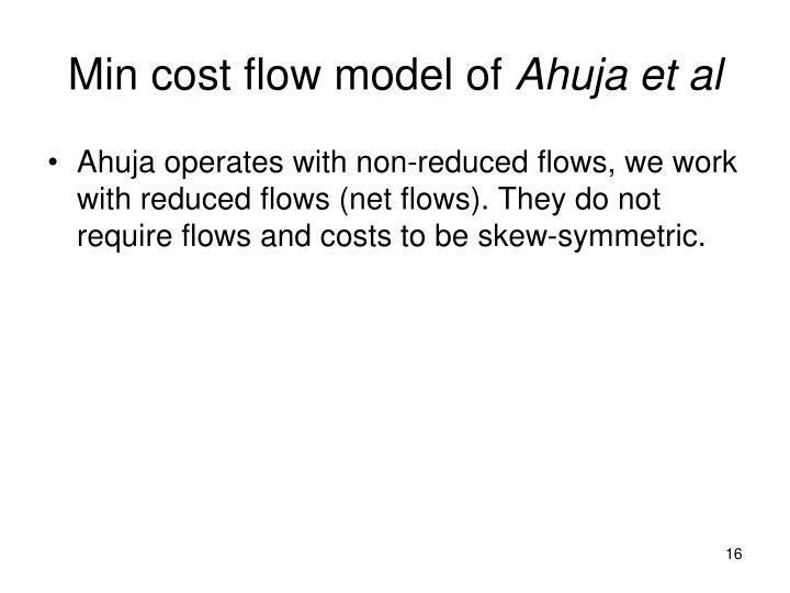 Min cost flow model of