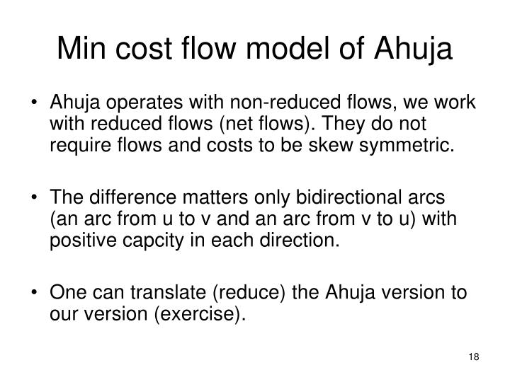 Min cost flow model of Ahuja