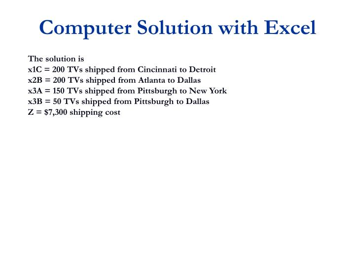 Computer Solution with Excel