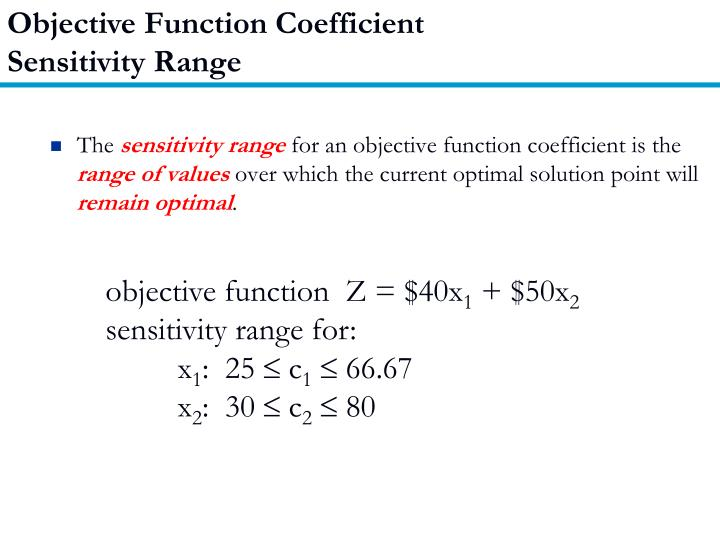 Objective Function Coefficient