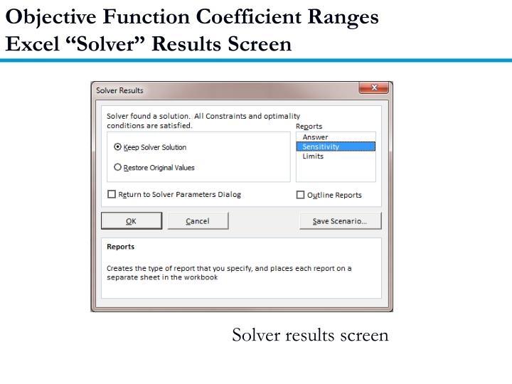 Objective Function Coefficient Ranges