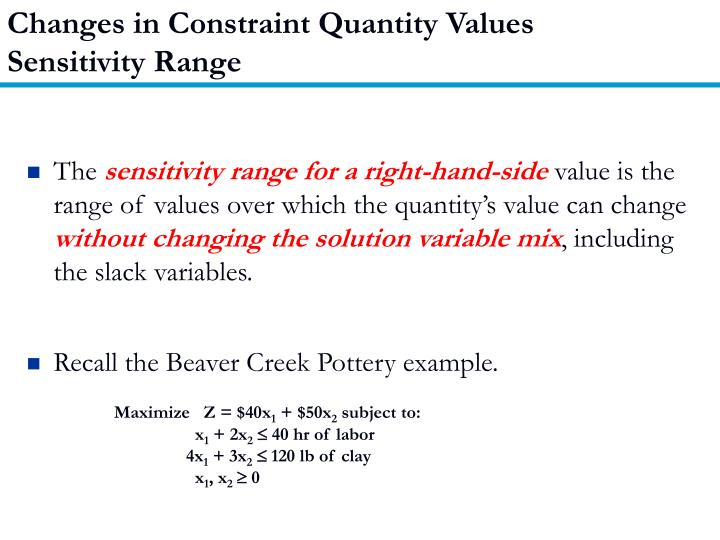 Changes in Constraint Quantity Values