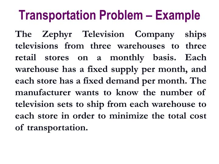 Transportation Problem – Example