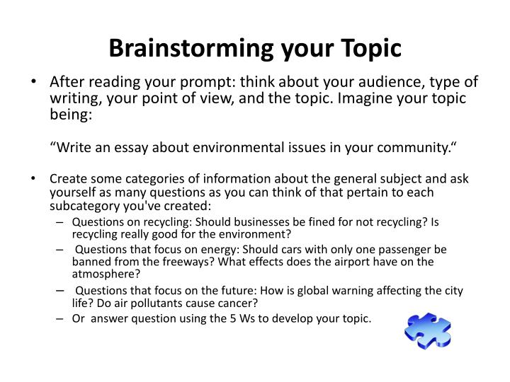 Brainstorming your topic