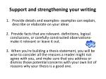 support and strengthening your writing