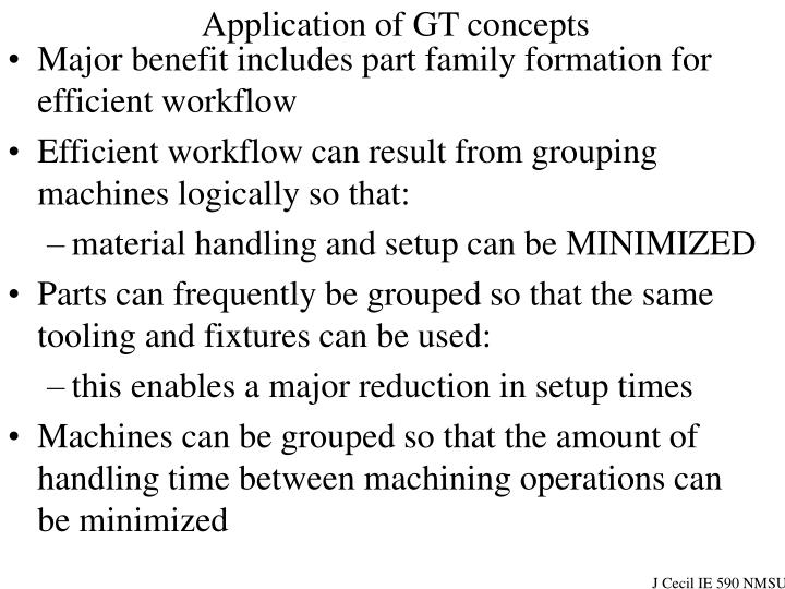 Application of GT concepts