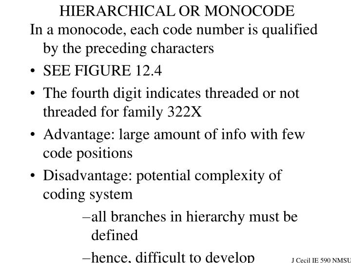 HIERARCHICAL OR MONOCODE