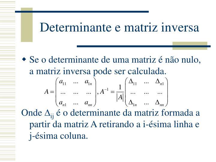 Determinante e matriz inversa