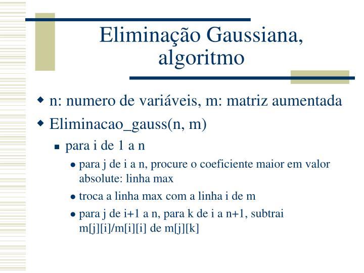 Eliminação Gaussiana, algoritmo