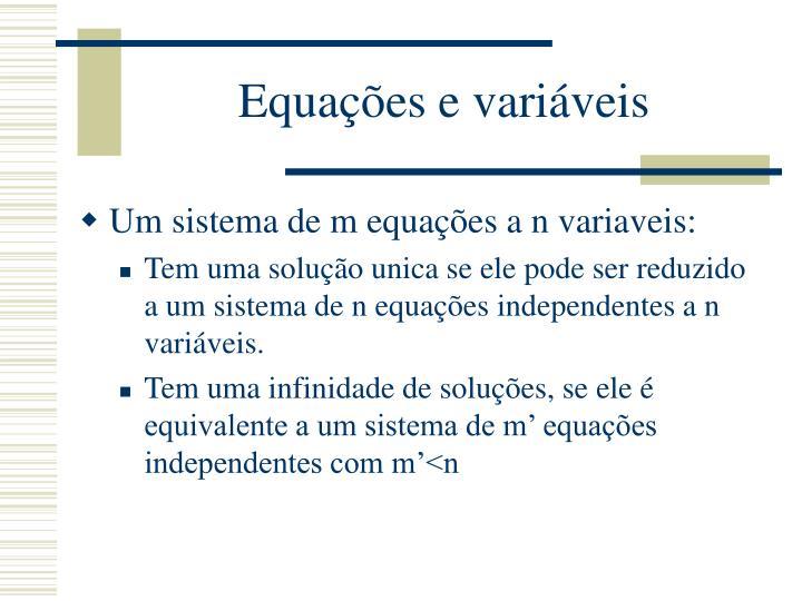 Equações e variáveis