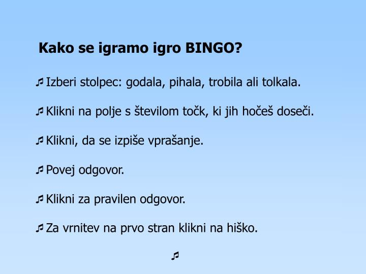 Kako se igramo igro BINGO?