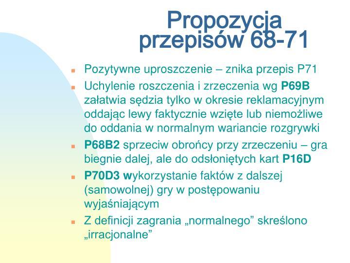 Propozycja przepisów 68-71