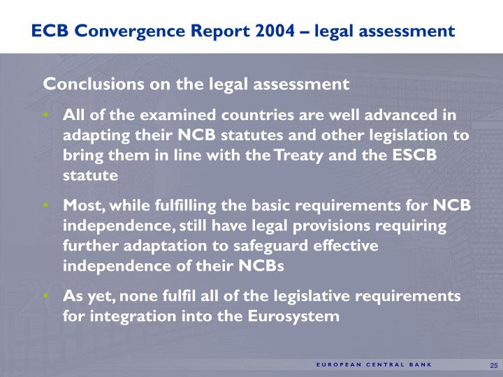 ECB Convergence Report 2004 – legal assessment