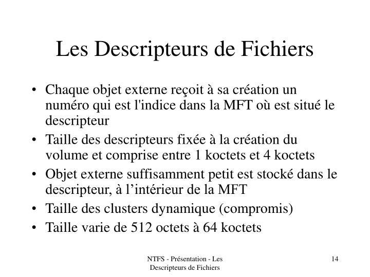 Les Descripteurs de Fichiers