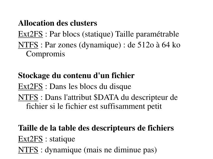 Allocation des clusters