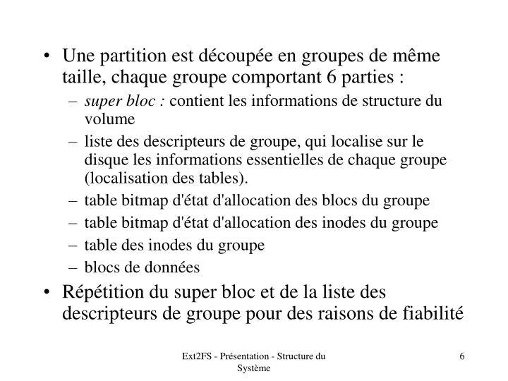 Une partition est découpée en groupes de même taille, chaque groupe comportant 6 parties :