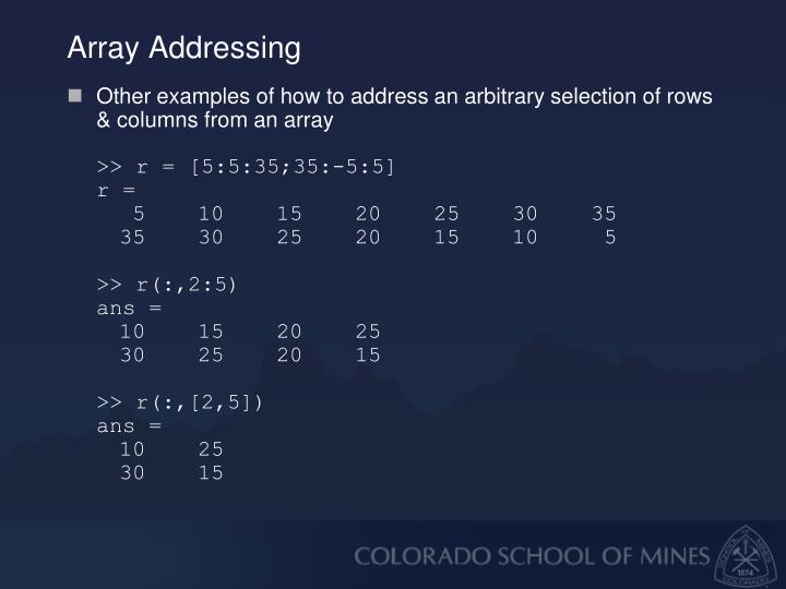Array Addressing