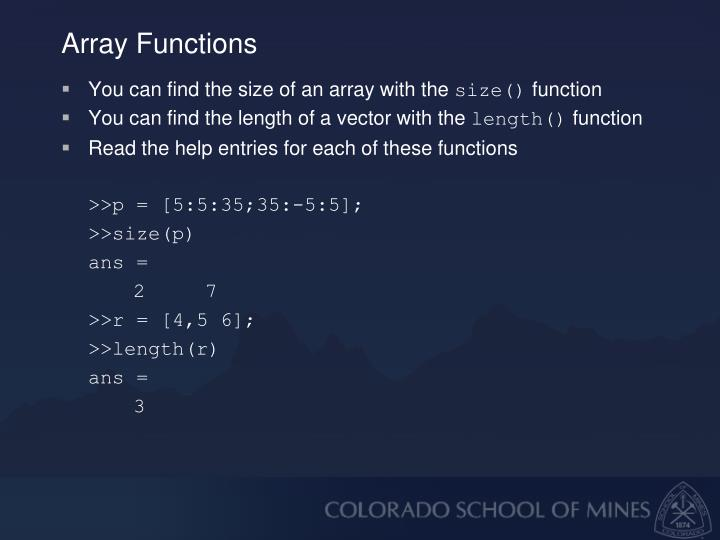 Array Functions