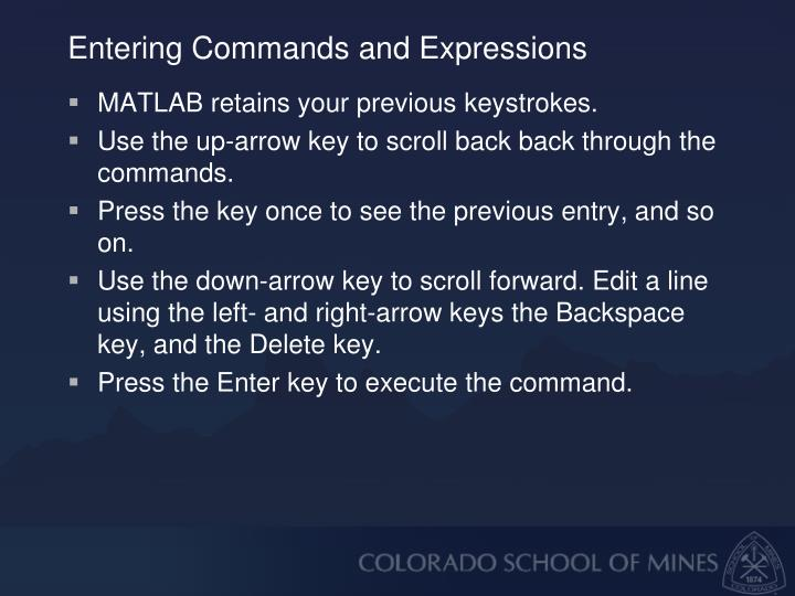 Entering Commands and Expressions