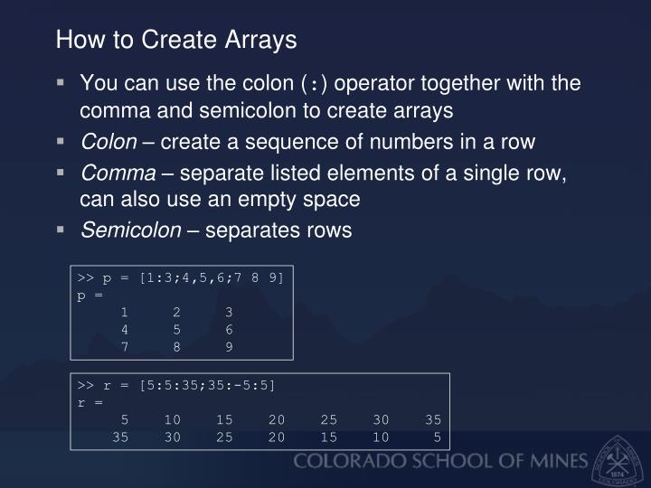 How to Create Arrays