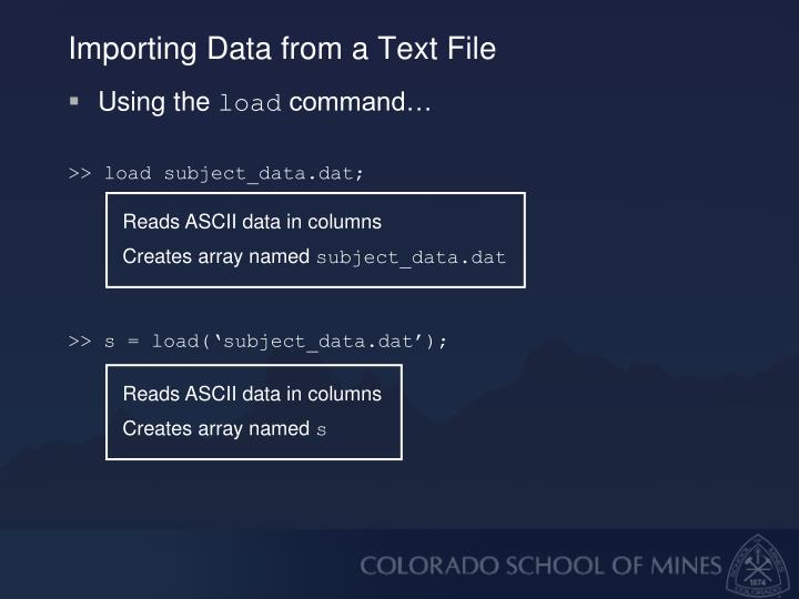Importing Data from a Text File