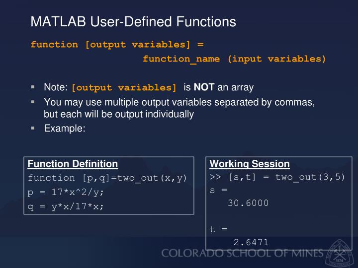 MATLAB User-Defined Functions