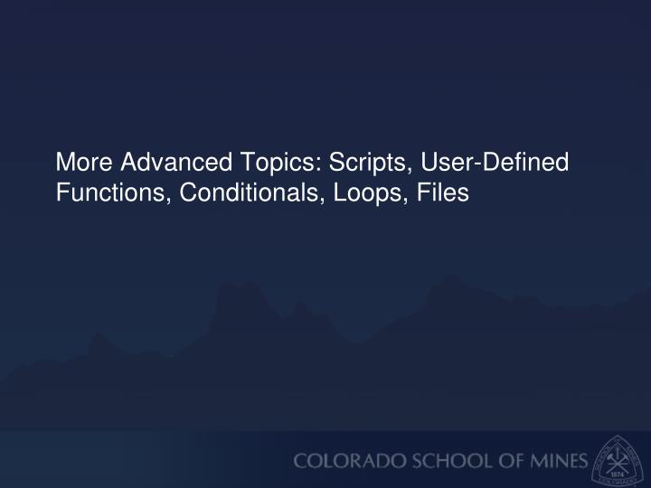 More Advanced Topics: Scripts, User-Defined Functions, Conditionals, Loops, Files