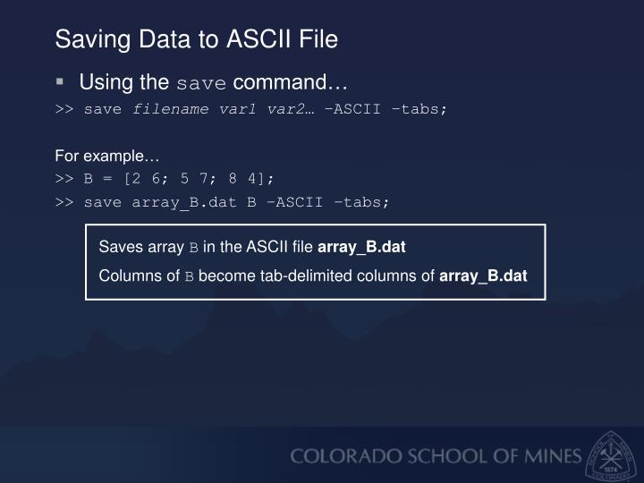 Saving Data to ASCII File