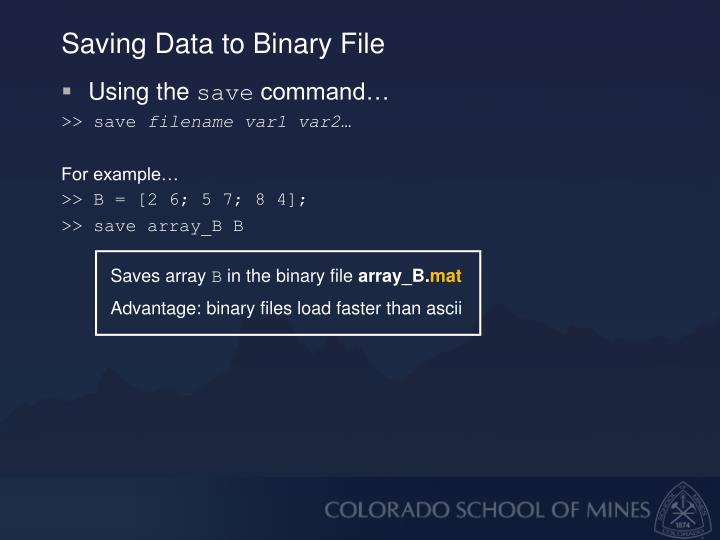 Saving Data to Binary File