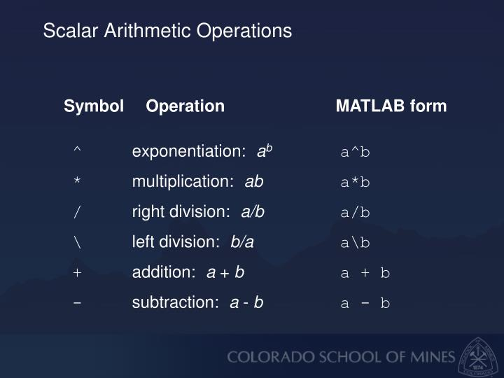 Scalar Arithmetic Operations