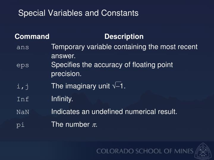 Special Variables and Constants