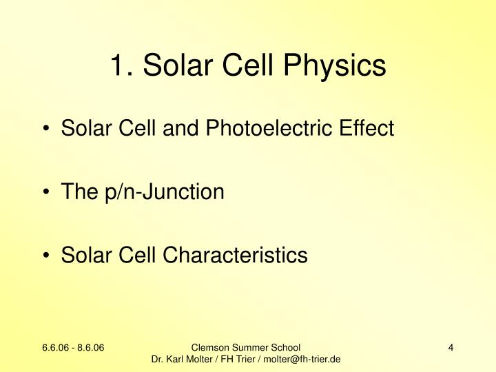 1. Solar Cell Physics