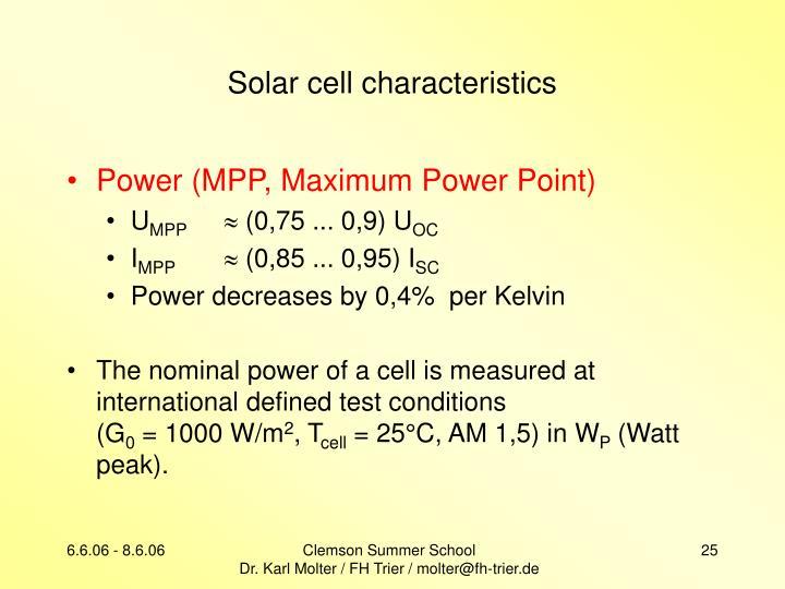 Solar cell characteristics
