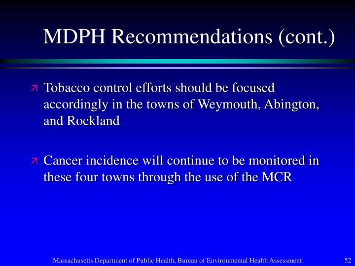MDPH Recommendations (cont.)