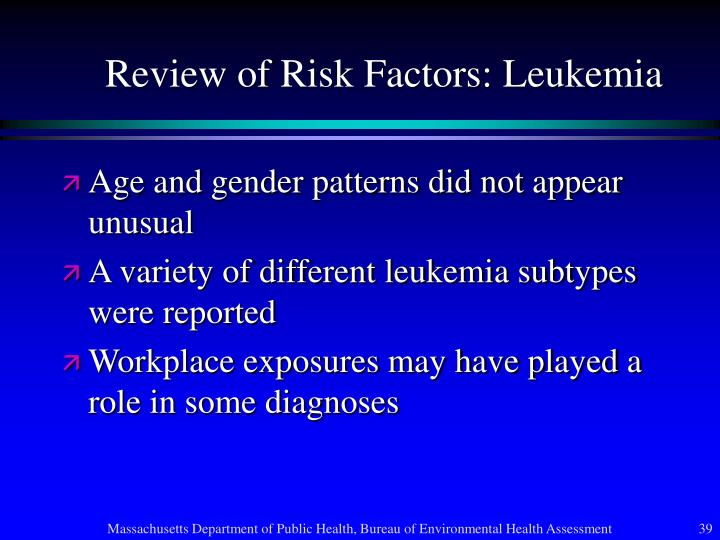 Review of Risk Factors: Leukemia