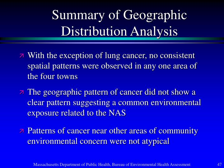Summary of Geographic Distribution Analysis