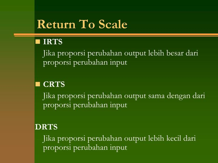 Return To Scale