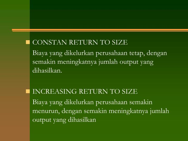 CONSTAN RETURN TO SIZE
