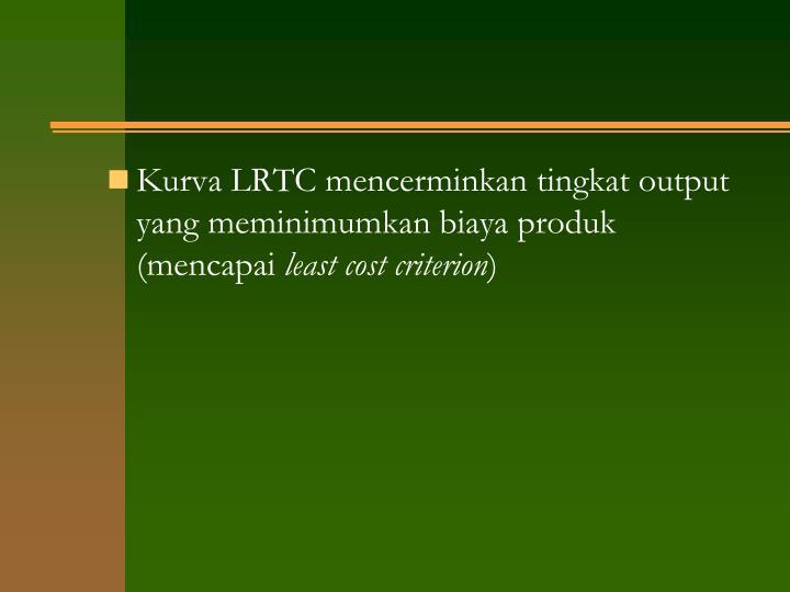 Kurva LRTC mencerminkan tingkat output yang meminimumkan biaya produk (mencapai