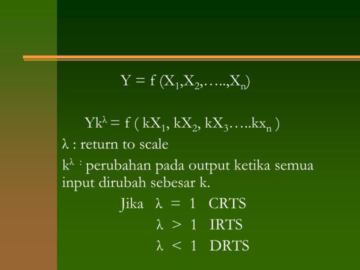 Y = f (X
