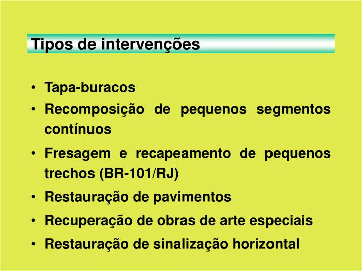 Tipos de intervenções